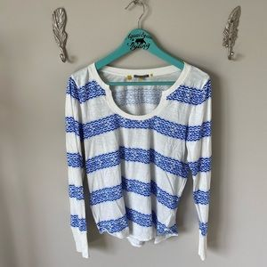 Anthropologie blue and white knit tee scoop neck
